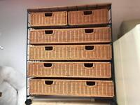 Wicker 6 Draw chest on wheels and matching side table