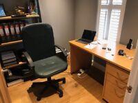 Study Desk, Pedestal Draws & Chair in oak effect. Good condition.