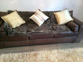 Delano Chocolate Brown Large Leather Sofa x2 £450 each