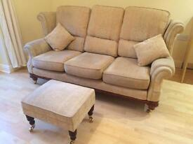 Three seater settee and foot stool
