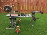 York 234 Weights Fitness Bench Set Weights, Barbell, Dumbbells, Butterfly, Leg Attachments & Gloves