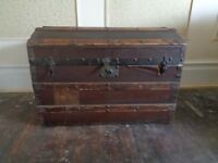 Antique leather bound, dome topped trunk. Pirates treasure chest. Storage.