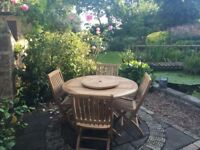 Jo Alexander Bristol Outdoor Round Folding Table & 4 Chairs Set. Only been used half a dozen times.