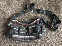 Fabric over shoulder black/multi handbag
