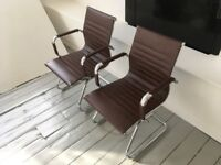 8 x brown leather Vitra style office chairs (good condition) £280 for all - RRP £1600