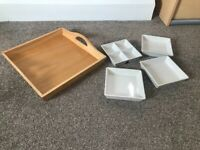 Wooden tray with 4 china dishes