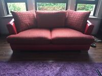 Red Fabric & Leather 3 Seater and Rotating Cuddle Chair