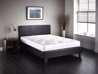 ''LIMITED STOCK'' -- Double Leather Bed Frame With Orthopaedic Mattress -- Very Cheap Price