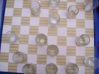 Checkers shot glass bar game set.