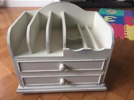 Gorgeous Ivory shabby chic drawer/ letter rack/ organiser