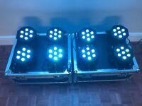 8x Visage LED Flat Black Pars + Flight Cases (Ideal for Venue Uplighting / Stage Lighting)