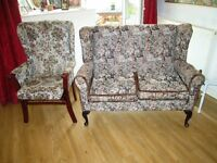 Cottage style two seater sofa and armchair