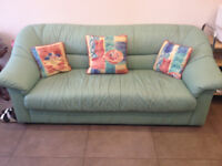 Three Seater Green Leather Settee