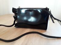 Reiss black leather frill cross body handbag new with tags