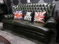 Stunning Chesterfield Monk High Back Green Leather 3 Seater Sofa Couch - Uk Delivery