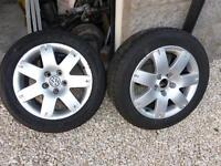 """Vw alloys 16"""" Pair of rims, 5x112 will suit others, ideal for winter tyres, tyres in photos not inc"""