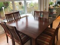 Solid wood dining table & 8 fabric chairs
