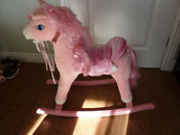 Childs Pink Rocking Horse ride-on with noises neighing clickety clock sounds