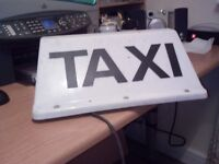 MAGNETIC TAXI SIGN FOR CAR ROOF , PROFESSIONAL TYPE WITH 4 MAG MOUNTS , AND 2 CORE CABLE FOR 12 V