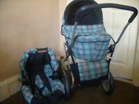 mamas and papas dolls pram with car seat