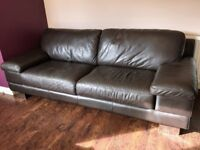 Three seat sofa; Brown leather; Dimensions W: 227cm x D: 100cm x H: 80cm (without legs H: 71cm)