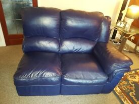 navy blue leather corner sofa with built in recliners