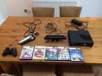 X box 360 Kinect + 5 games + 2 microphones