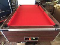 Pool Table very nice red felt ex pub table