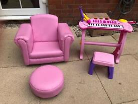 SOLD!Chair with footstool and mini keyboard.