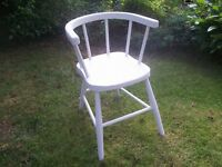 Childs/Dolls Tub Back, Spindle Chair, Shabby Chic, Chalk Paint with Red Cushion.