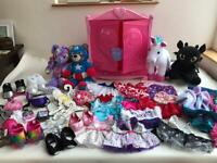 Build a bear wardrobe, bears, carrier, shoes and special accessories
