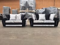 3+2 seater sofa silver and black crush
