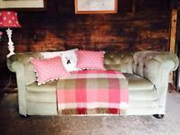 Edwardian Chesterfield Deep Button Back Sofa Green Velvet