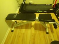 Weights bench, dumbells and weights