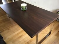 Immaculate and indestructible 8 - 10 seat dining table w/ chrome legs 220cmx110cm (74cm high)