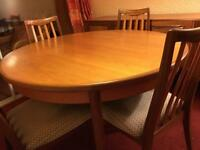G plan fresco extending table and chairs