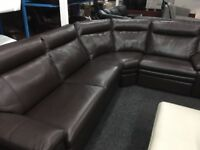 NEW / EX DISPLAY Brown Leather LazyBoy Peace Corner Recliner Sofa (left or right corner)