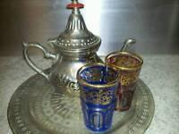 Silver Moroccan tea set - v good condition