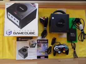 working boxed BLACK NINTENDO GAME CUBE CONSOLE comes complete