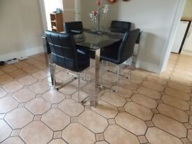 Rectangular Glass Dining Table & Four Chairs