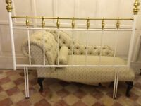 Double bed headboard - Metal white and gold