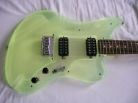 Aria Legend acrylic bodied electric guitar - Fender Jaguar shape - Green tint