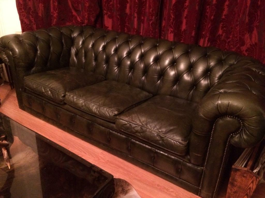 Vintage Chesterfield 3 Seat Leather Sofa Quality Solid Hide Antique Green