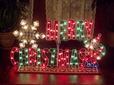 Holographic Christmas Decorations (OUTDOOR HOLOGRAPHIC LIGHTED MERRY CHRISTMAS SIGN YARD STAKE WINDOW HOLIDAY DECOR )