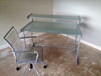 John Lewis glass desk with chair