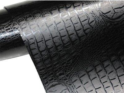 Krokodil Haut Folie 100cm x 152cm crocodile Optik Schwarz / Luftkanäle