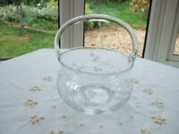 """Retro glass bowl with glass handle attached engraved with floral design 7"""" diameter"""