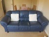 Leather Three Seater Sofa, Two Seater Sofa and Foot Stool in French Navy ��150 or make an offer.