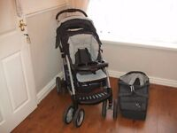 Graco pushchair carry cot and rain cover