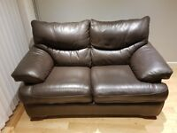 DFS DARK BROWN TWO SEATER LEATHER SOFA